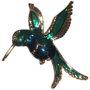 Green and Blue Hummingbird Brooch Outlined in Gold