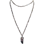 Sterling Silver Twisted Chain with Crystal and Amethyst Pendant
