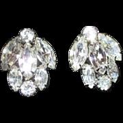 """Pair of 1"""" Weiss Rhinestone Clip-on Earrings"""