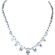 Weiss Necklace with Emerald-Cut and Diamond-/Cut Clear Rhinestones