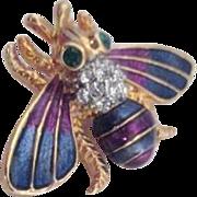 Goldtone Enamel and Rhinestone Flying Bug Brooch
