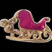Enamel Red Sleigh Christmas Pin