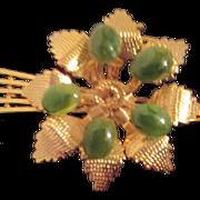 Jade and Gold Tone Pin