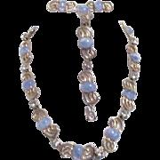 Unsigned 3 Piece Matching Set of Jewelry Gold Tone Light Blue