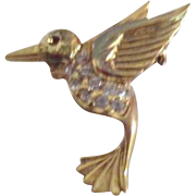 Small Goldtone Bird with Rhinestones Pin