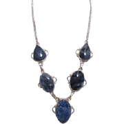 Necklace with Lapis Lazuli and Silvertoned Chain
