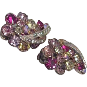 Pair of Weiss Multicolor Rhinestone Clip-on Earrings