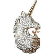 Swarovski Unicorn Brooch Pave Crystal Retired