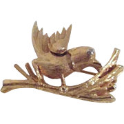 Goldtone Bird on Branch Brooch/Pin