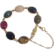 Gemstone Carved 7 Scarab Bracelet Goldtone