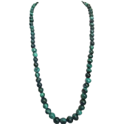 "Malachite Beaded Necklace 23"" Long with Silvertone Barrel Clasp"