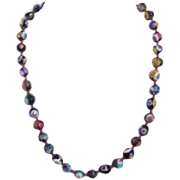 "Millefiori Glass Multicolored Beaded Necklace 18"" Long"
