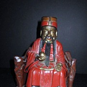 REDUCED Antique Wood Hand Carved Chinese Man on a Bench