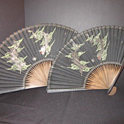 SALE Pair of Matching Fans With Dragon Design