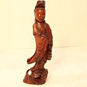 SALE Vintage Wood Carving Quan Yin with Ruyi and Fish at Her Feet