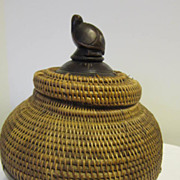 Vintage Indonesian Wood and Woven Basket/Turtle on Lid