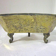 Vintage Chinese Heavy Brass Footed Bowl