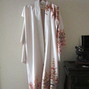 SALE Vintage Japanese Cream Kimono with Floral Design