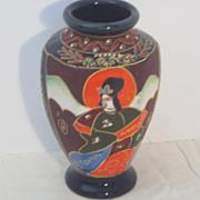 Vintage Japanese Satsuma Hand Painted Porcelain Vase