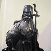 VIntage Bronze Cast  Jorojin Japanese God of Longevity