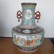 Vintage Large Porcelain Chinese Vase with Hand Painted  Pictures of Children Playing with Seal