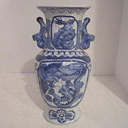 Vintage Chinese Blue and White Porcelain Vase with Dragon and Phoenix