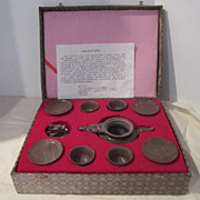 Vintage Hand Carved Ceremonial Stone Tea Set with Dragon Tea Pot in Original Box