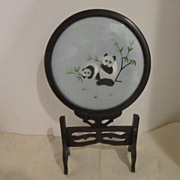 Vintage Double-sided Chinese Embroidery of Pandas with Stand