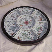 Vintage Oriental Hand Painted Porcelain Sweet Meat Tray in Wooden Holder