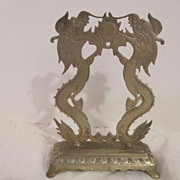 SALE Vintage Hand Etched Brass Dragons with Pearl of Wisdom