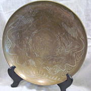 SALE Large Round Brass Bowl with Two Dragons Chasing the Pearl of Wisdom