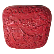 Small Red Cinnabar Hand Carved Box