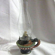 Antique Clay Oil Lamp with Red & Green Design and Dragon Handle