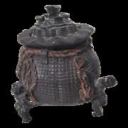 Bronze Incense Burner Money Bag Supported by 3 Men