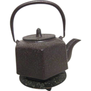 Antique Oriental Metal Tea Pot with Decorated Trivet