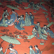 SOLD Fabric from England with Japanese Design on Orange Background