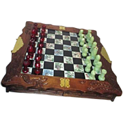 SALE Asian Traveling Chess Set Wood Tile and Resin