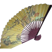 SALE Chinese Pictorial Wall Fan with Landscape in Original Box