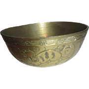 Chinese Etched Small Brass Bowl