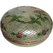 Cloisonne Plicque-a-Jour Lidded Bowl with Flowers and Butterfly
