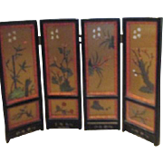 """SALE 18"""" High Folding Black 4 Panel Chinese Screen with Jade"""