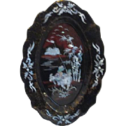 Black to Dark Red Lacquer Tray with Inlaid Mother of Pearl (Abalone Shell) Boys on Water Buffa
