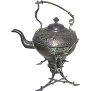 Antique Brass Teapot with Copper Top, Stand & Heat Source
