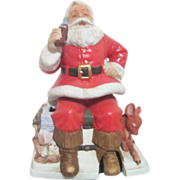 SALE Melody in Motion Seated Santa with Coca Cola and Fawn