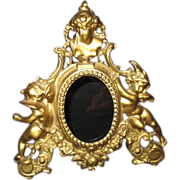 Brass Oval Free Standing Picture Frame with Cherubs Woman's Head