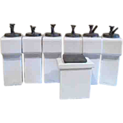 Ceramic Soda Fountain Dispensers 6 Syrup and 1 Nuts/Cherries