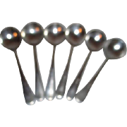 SALE Set of 6 Bell System Cafeteria Silver Plate Soup Spoons
