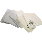 SOLD Set of 12 Linen Christmas Holly Napkins Machine Embroidered