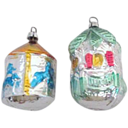 SALE Pair of West German Glass Christmas Tree Ornaments