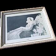 SALE Louis Icart Framed Off-Set Lithograph 1975 Love's Blossom